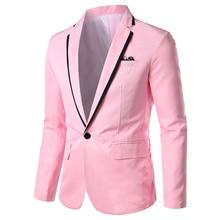 Весна осень новинка мужчины пиджак мода тонкий повседневный блейзер для мужчин розовый% 2F черный% 2F белый один пуговица мужские костюм куртка верхняя одежда мужские 5XL