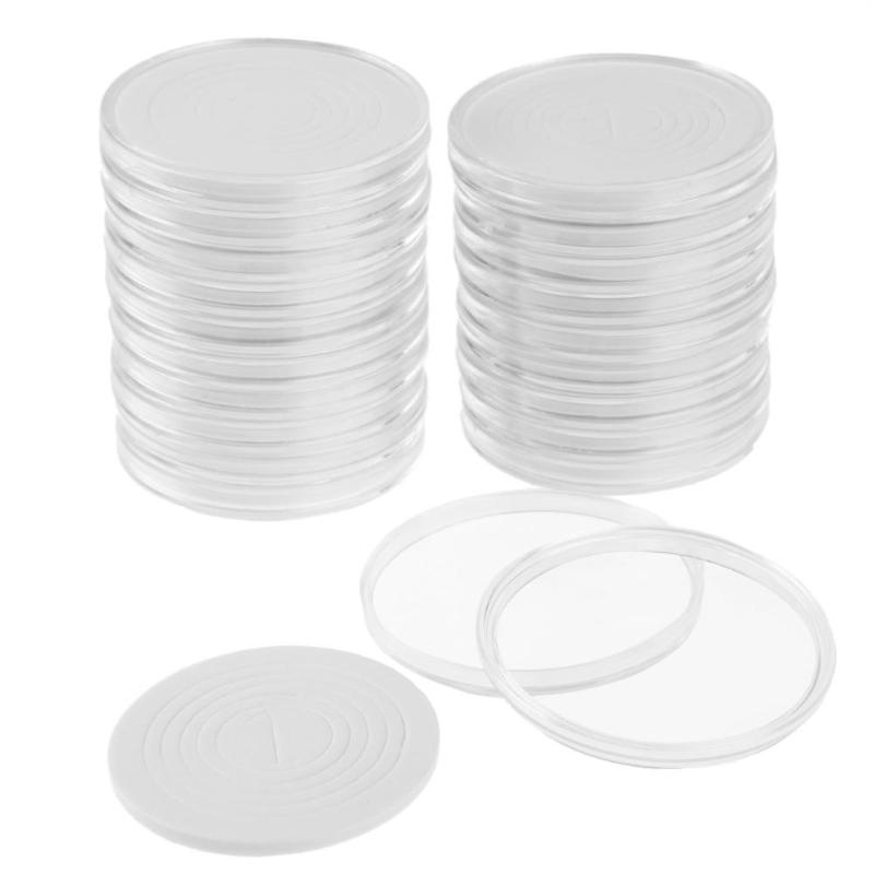 20pcs/Set Round Clear Coin Storage Container Box Commemorative Coin Holder