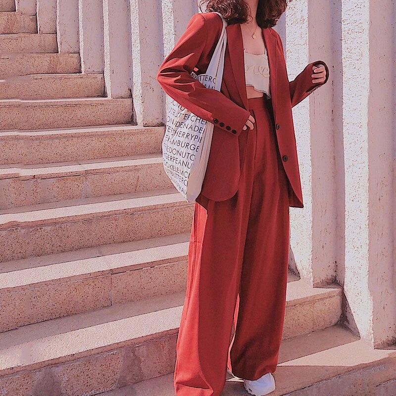 Весна 2020, костюм с блейзером для улицы, Женский однобортный Свободный Длинный блейзер + длинные широкие брюки, повседневные женские штаны, костюм из 2 предметов|Брючные костюмы|   | АлиЭкспресс