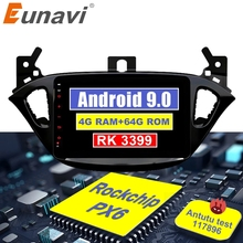 Eunavi 2 din car radio 4G+64G android 10 for Opel Corsa E 2014 2015 2016 GPS Navi WIFI