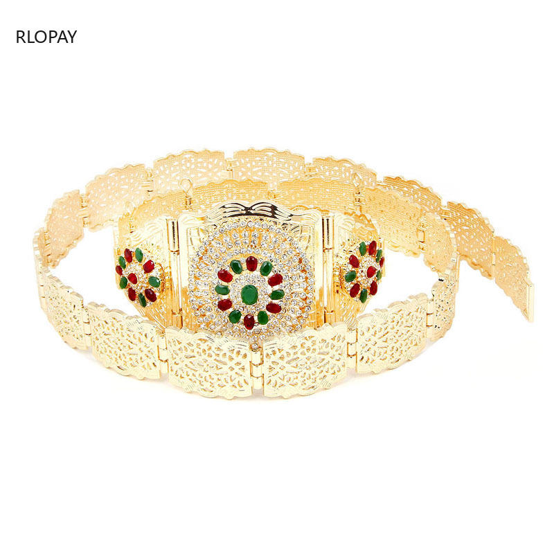 Image 3 - New Moroccan Chic Caftan Belt For Women Luxury Birdal Wasit Band  With Colorful Rhinestone Arabic Gold BeltsBody Jewelry