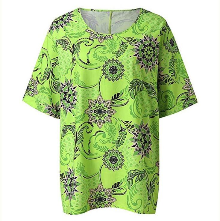 Summer And Autumn Floral Half Sleeve Loose Casual Large Round Neck T-Shirt Top Women's Shirt