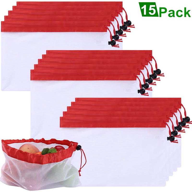15Pcs Premium Mesh Produce Bags Reusable Eco-Friendly Bag For Fruit, Vegetable, Toys, Grocery Shopping Washable Net Bags