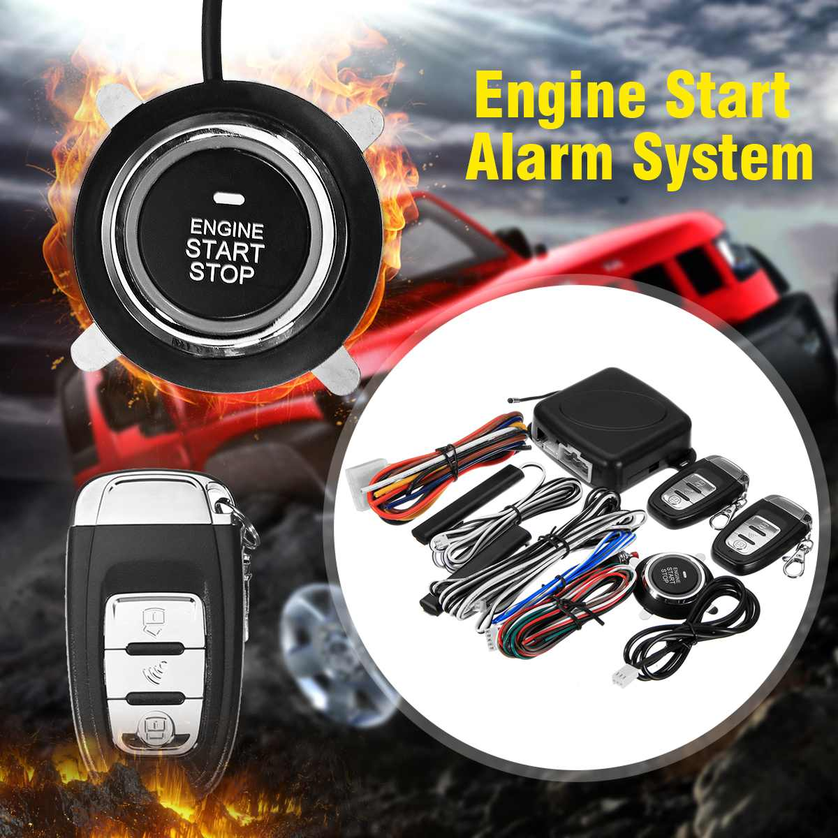 12V Auto SUV Car Smart Alarm System Push Engine Start Stop Button Lock Ignition Immobilizer with Remote Keyless Go Entry System