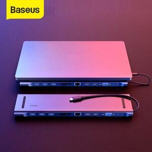 Image 1 - Baseusマルチusb cハブhdmi vga RJ45 3.0 usbハブmacbook proのタイプcハブコンピュータアクセサリー 11 ポートスプリッタusb cハブ