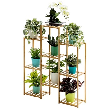 Living room partition flower shelf balcony multilayer floor combination indoor succulent green dill plant solid wood bamboo rack