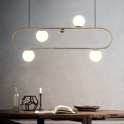 Modern Style Living Room Bedroom Minimalist Restaurant Pendant Light Nordic Clothing Decoration Glass Ball Pendant Lamp Bed Deco