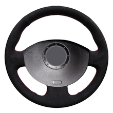 цена на WCaRFun Black Suede Car Steering Wheel Cover for Renault Megane 2 2003-2008 Kangoo 2008 Scenic 2 2003-2009