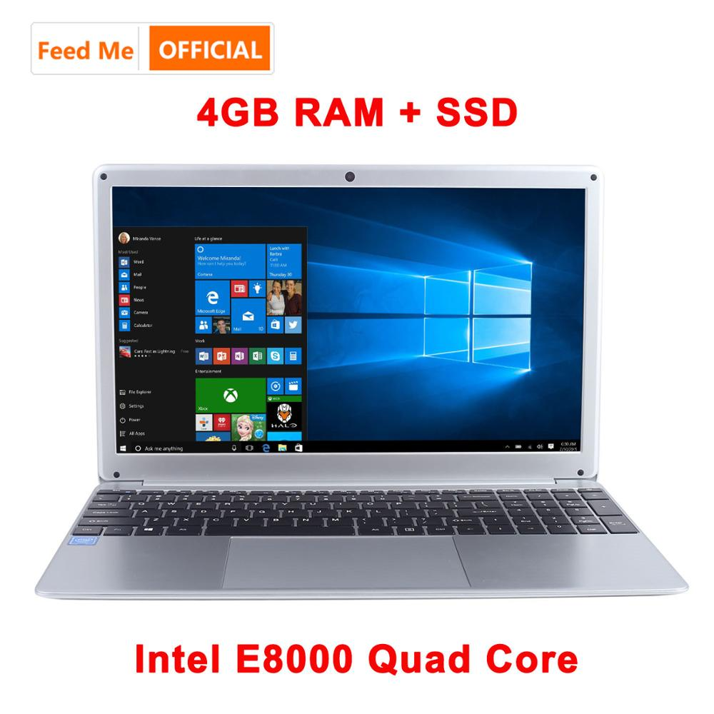 15.6 Inch 1080P Laptop Intel E8000 Quad Core 4GB RAM 128GB 256GB SSD Notebook With Bluetooth Webcam WiFi For Student Office