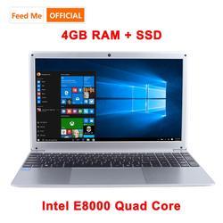 15.6 pollici 1080P Del Computer Portatile di Intel E8000 Quad Core 4GB di RAM 64GB 128GB 256GB SSD Notebook con Bluetooth webcam WiFi per Studente Ufficio