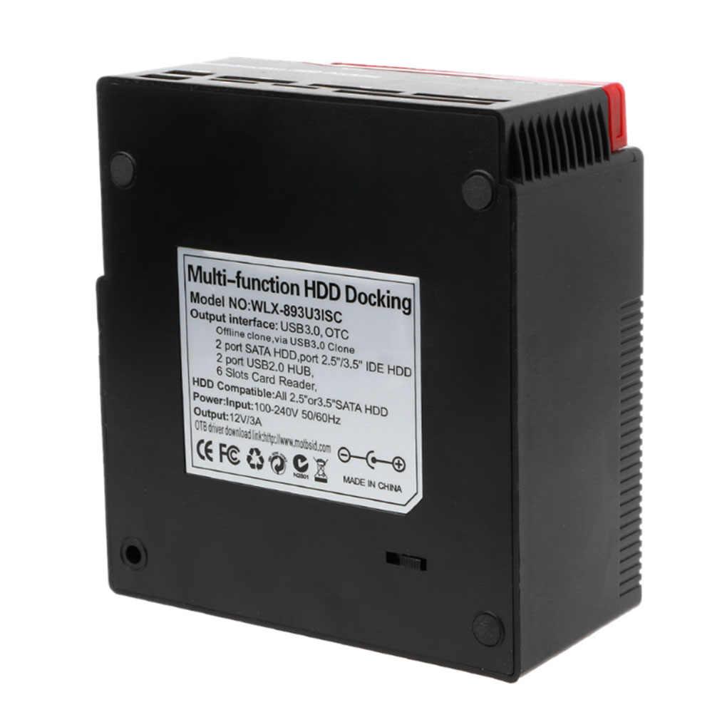 الكل في 1 USB 3.0 إلى SATA IDE الخارجية عالية السرعة قارئ كارت قيادة صلب متعدد الوظائف HDD قاعدة قفص الاتهام المملكة المتحدة/الولايات المتحدة/الاتحاد الأوروبي التوصيل