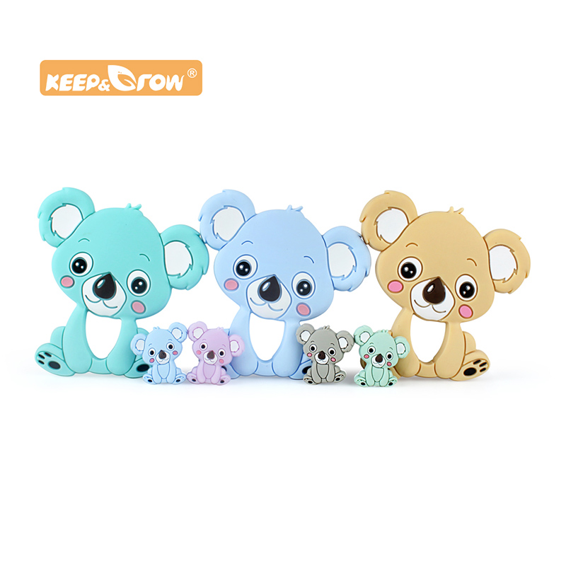 Keep&Grow Koala Silicone Bead Baby Teether Food Grade Baby Teething Necklace Rodents DIY Pacifier Clip Baby Products