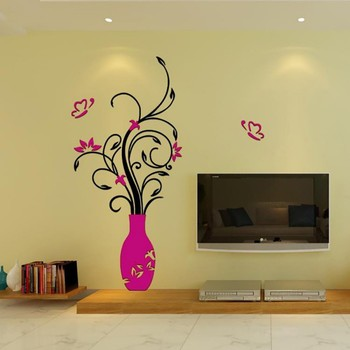 3D Home Decals Decor DIY Fashion 3D Vase Flower Tree Crystal Arcylic Wall Stickers Decal Home Room Indoor Decor Wall Stickers 9