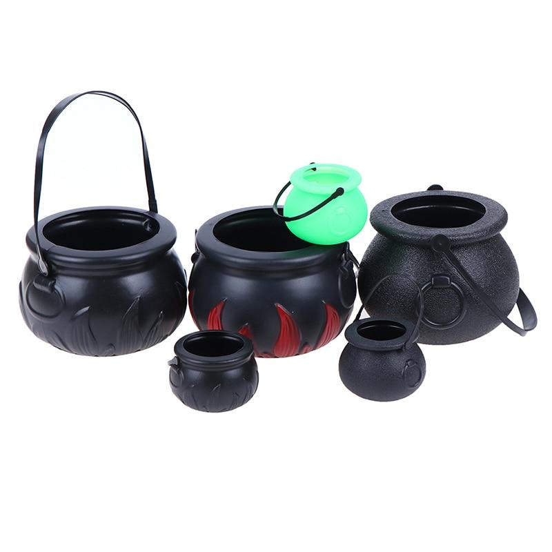 1PC Halloween Candy Pot Halloween Cauldron Novelty Halloween Bucket Ornament Skull Witch Toy