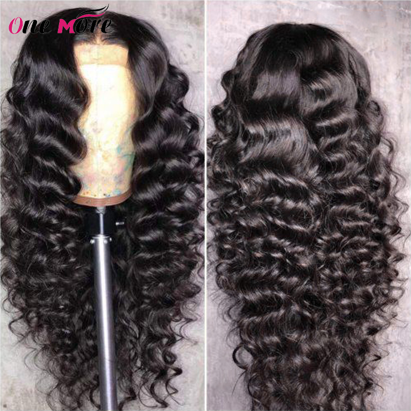 One More Brazilian Loose Deep Wave Wig 13X4 Lace Front Human Hair Wigs For Black Women Pre Plucked Remy Transparent Lace Wigs