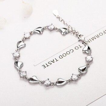 Fine Jewelry Heart Zircon 925 Standard Sterling Silver Bracelet Women Silver Jewelry Factory Direct Anniversary Birthday