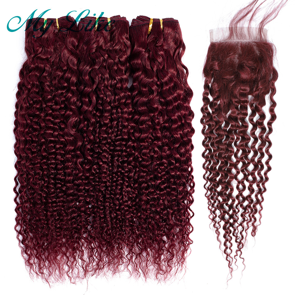 My Like Pre-colored Red Burgundy 99J Peruvian Kinky Curly Human Hair 3 Bundles With Lace Closure Bleached Knots Non-Remy Hair