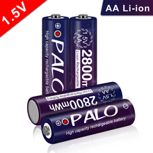 PALO 100% Original 2800mWh aa li ion rechargeable battery stable voltage rechargeable aa 1.5v for therometer