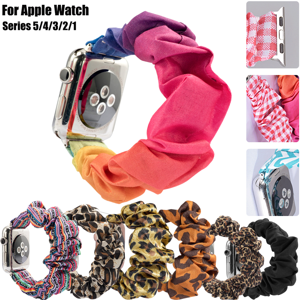 2020 New Scrunchie Elastic Watch Band Strap Compatible For Apple Watch Series 5 4 3 2 1 44MM 40MM 42MM 38MM Bracelet For IWatch