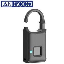 Angood p5 inteligente impressão digital cadeado fechadura da porta de segurança toque anti roubo carga usb para mochila mala bagagem