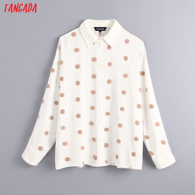 Tangada Women Vintage Oversized Dots Embroidery Blouse Long Sleeve Female Casual Shirts Tops Blusas BE16