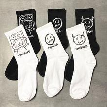 Носки для мужчин и женщин высокие хип хоп модные Мультяшные