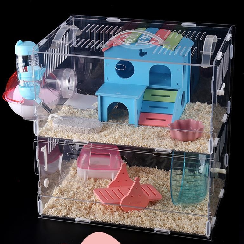 Hamster Cage Extra Large Villa  Baby Golden Silk Bear  Single Layer Double Transparent Base  Supplies Toys