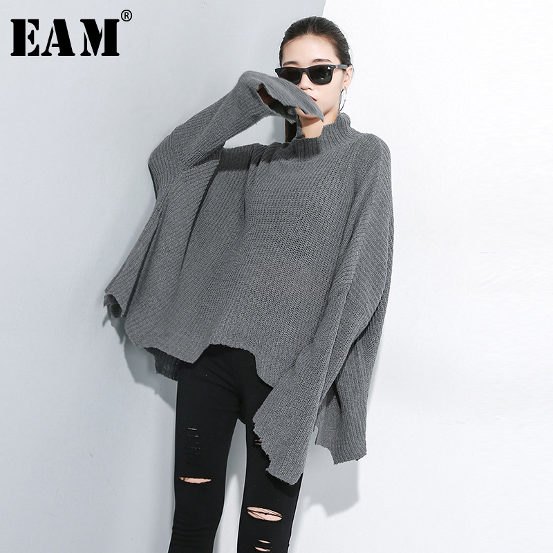[EAM] 2019 New Spring Black Patchwork Loose Full Sleeve O Collar Knitting Women Fashion Tide Beading Sweater OA8