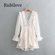 Rubilove 2019 Women Layered Ruffle White Party Dress Female Lace Up V Neck Long Sleeve A-line Mini Summer