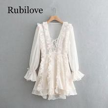 Rubilove 2019 Women Layered Ruffle White Party Dress Female Lace Up V Neck Long Sleeve A-line Mini Summer Dress layered sleeve square neck dress