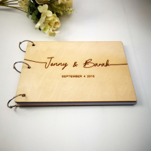 Custom Bride And Groom Name And Date Wooden Calligraphy Guest Book Personalized Laser Engraved Wedding Album Gift for Couple