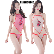 Sexy Chinese Style Chest Covering  Bellyband Lingerie Women Pajamas Set Dudou See Through Embroidery Sleepwear Nightgown Suit