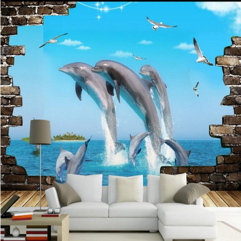 Dropship Photo Wallpaper Dolphin Sea World 3D Stereo Custom Living Room Mural TV Background Wall High Quality Wallpaper