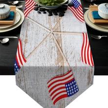 Bandera Americana Vintage camino de mesa de madera bandera decoración de fiesta casera mantel corredores de mesa