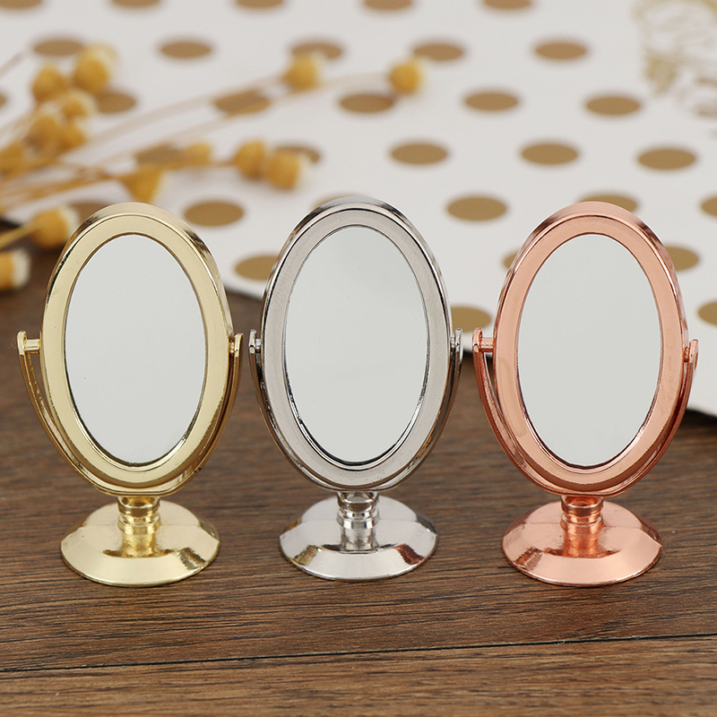 Doll House Miniature Vintage Glod Sliver Rose Gold Vanity Mini Mirror 1/12 Scale Dolls Bathroom Furniture Toy Accessories