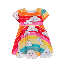 Baby Girl Cloudy Rainbow Dresses for Girls Short Sleeve Dress Princess Brithday Wedding Party with Belt