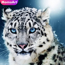 MomoArt Diamond Painting Cross Stitch White Tiger Mosaic Full Drill Square Embroidery Animal Needlework