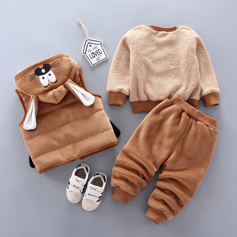 0-4 years old winter new baby boy clothes warm clothes baby girl cartoon plus velvet thick hooded sweater three-piece baby suit 4