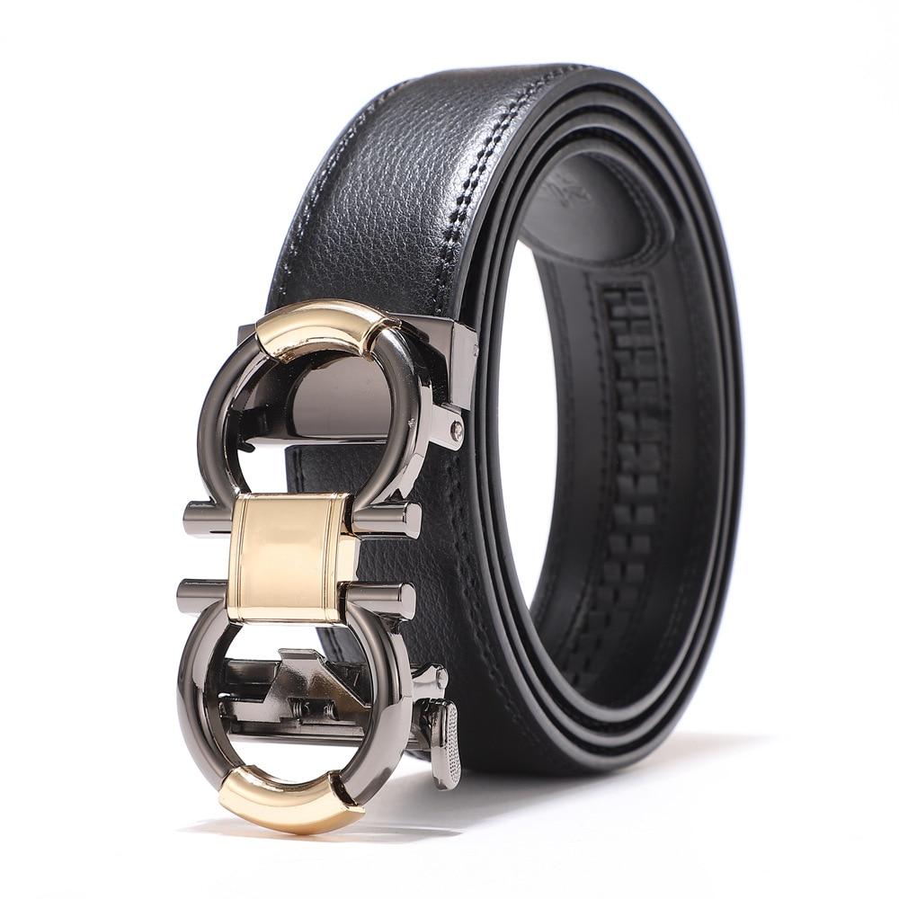 2021 Genuine Leather Belt Business Men Casual Automatic Buckle Cowhide Jeans Belts for Men Luxury Designer Brand Strap Ondildo