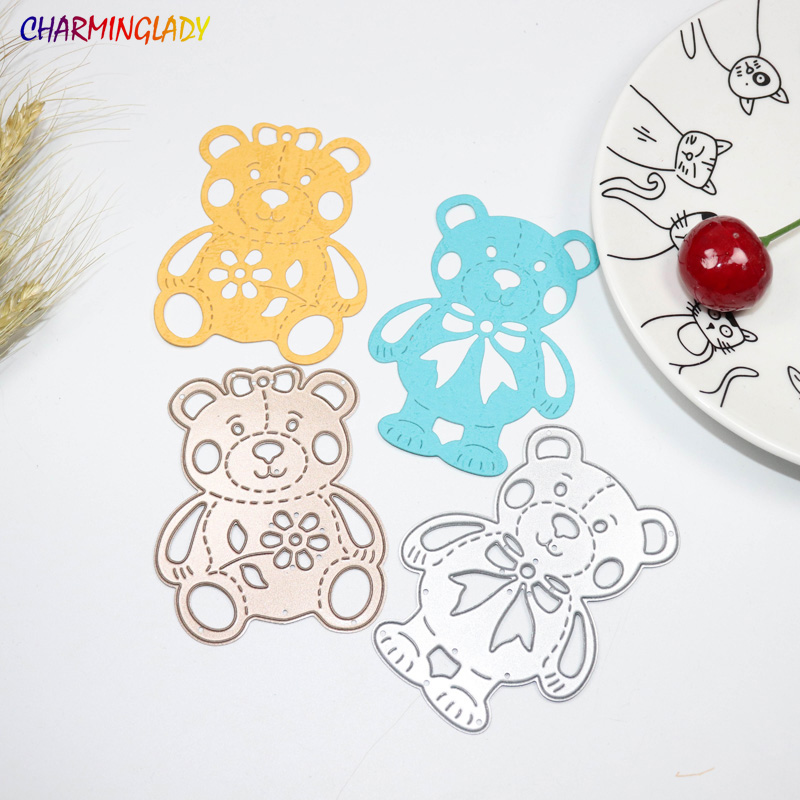 METAL CUTTING DIES 2pc Teddy Bear Cartoon Pet Scrapbook Album Card Home Decorative EMBOSSING STENCILS Cutter Paper Crafts Dies