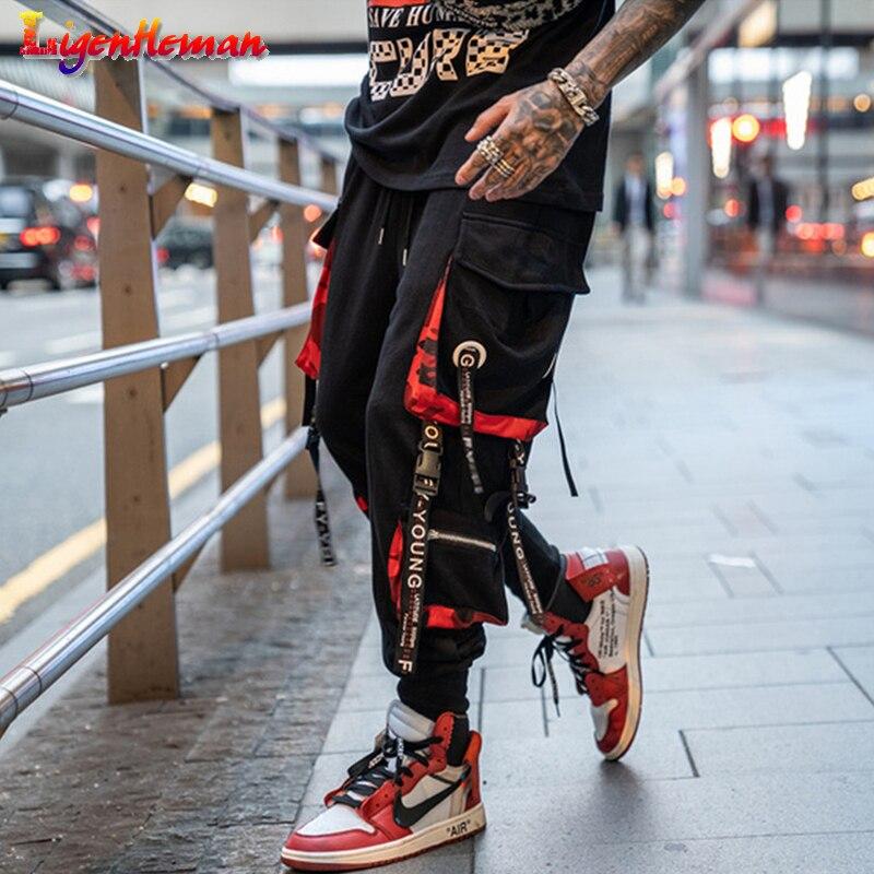 Men Letter Ribbons Sweatpants Joggers Nine Pants Men Hit Color Pocket Track Pants Men Fashion Elastic Waist Hip Hop Streetwear