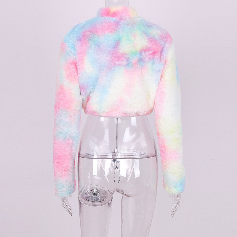Nadafair Long Sleeve White Cropped Hoodie Women Autumn Winter Pullover Short Sweatshirt Plush Zipper Faux Fur Fluffly Sweatshirt 24