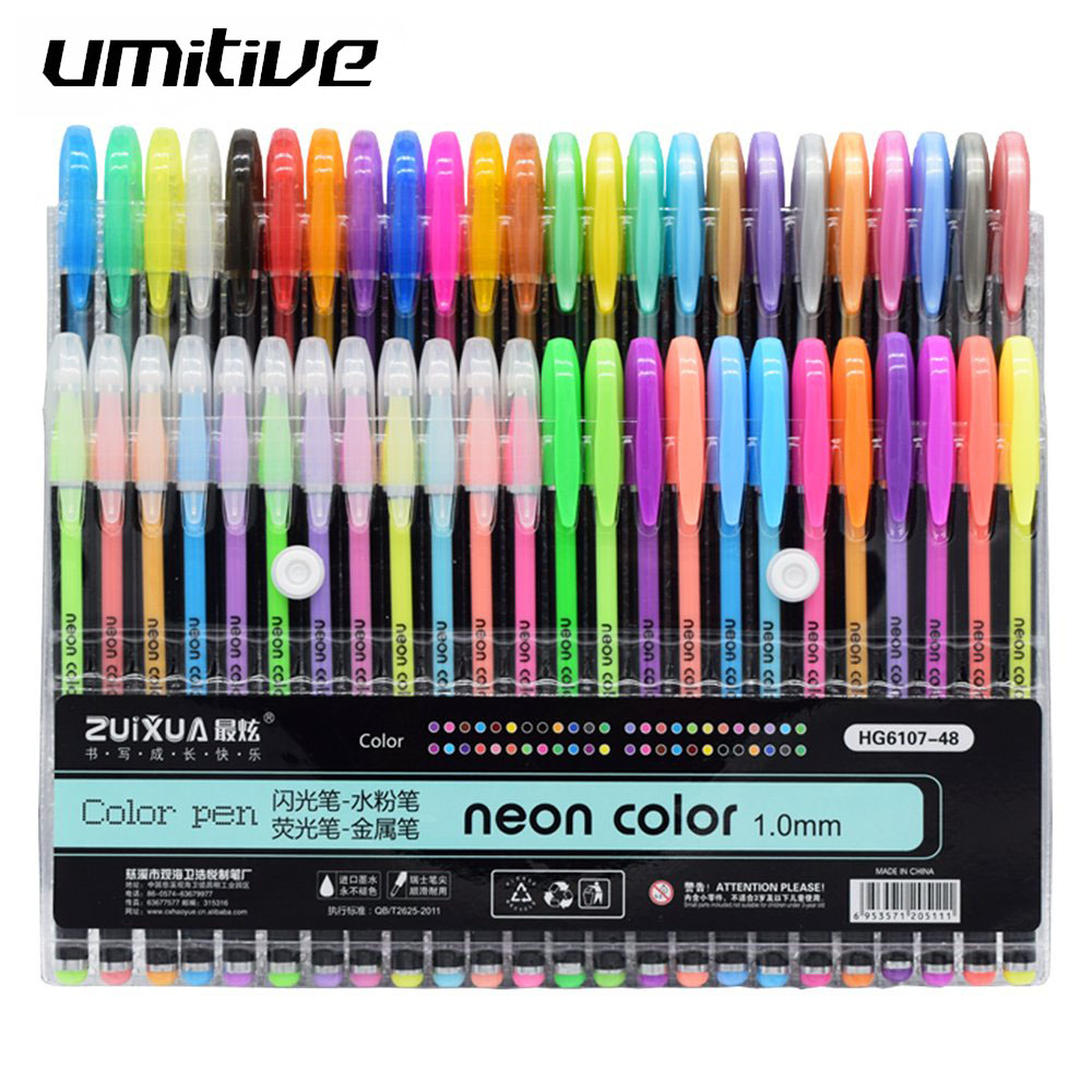 Umitive 48 Colors Gel Pens Set Glitter Gel Pen For Adult Coloring Books Journals Drawing Doodling Art Markers