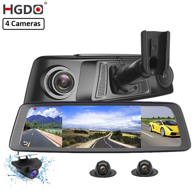 Видеорегистратор HGDO с 4 объективами, Wi-Fi, 4G, ADAS, GPS-навигация, Full HD 1080P, 10