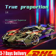 IN STOCK 2021 New High-Tech Series V12 Green Concept Famous Sport Cars Building Blocks Creator Bricks Toys Kids Birthday Gifts