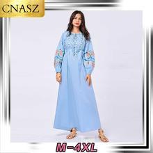 Muslim Dress Dubai Fashion Islamic Turkey Plus Size Women's Middle East Embroidered Puff Sleeve Arab Dress Casual Long Dress