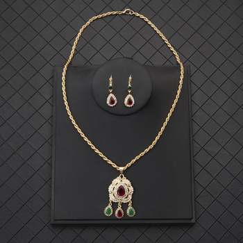 High Quality Arab Moroccan Style Chain Necklace Luxury Shiny Red Green Crystal Waterdrop Pendant Necklace Statement Jewelry 1