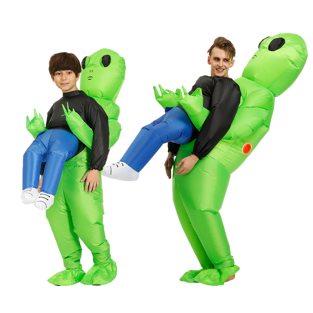 Hot Green Alien Inflatable Costume Cosplay Kids Adult Funny Blow Up Suit Party Choth Fancy Dress Halloween Costume For Women Men