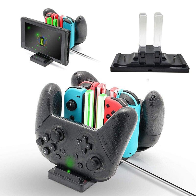 Новая зарядная док-станция для Nintendo Switch Joy-con контроллер светодиодный зарядное устройство Type-C для Nintendo Switch Pro геймпад Подставка для зарядки NS