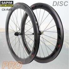 עלית כביש דיסק בלם פחמן אופניים גלגל 30/35/38/45/47/50/55/60mm צינורי נימוק מכריע ללא פנימית עם Sapim דיבר 700c זוג גלגלים